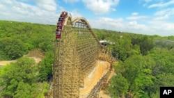A rollercoaster at Silver Dollar City, in Branson, Missouri.