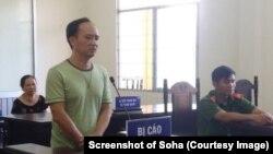 """Bùi Mạnh Đồng tại phiên xử ngày 27/9 tại Cần Thơ. Facebooker này bị kết án 30 tháng tù với tội danh """"lợi dụng các quyền tự do dân chủ xâm phạm lợi ích Nhà nước."""""""