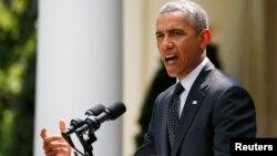 Presiden AS Barack Obama mengumumkan jumlah tentara AS yang akan bertahan di Afghanistan, di Gedung Putih, Washington (27/5).