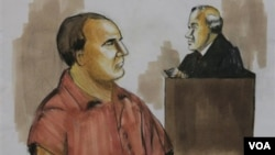 Bức phác họa bị can David Coleman Headley trước phiên tòa