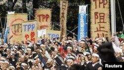 Nông dân Nhật Bản biểu tình phản đối Hiệp định Đối tác Xuyên Thái Bình Dương (TPP) tại Tokyo ngày 10/11/2010.