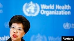 Direktur Jenderal Organisasi Kesehatan Dunia (WHO) Margaret Chan setelah rapat komite darurat mengenai Ebola selama dua hari, di Jenewa 8 Agustus 2014.