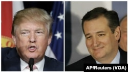 From left, Republican U.S. presidential candidates businessman Donald Trump and Texas Senator Ted Cruz.
