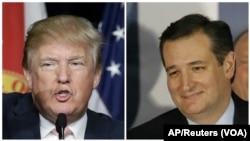 ຈາກຊ້າຍ ທ່ານ Donald Trump ຜູ້ລົງແຂ່ງຂັນເປັນປະທານາທິບໍດີສະຫະລັດສັງກັດພັກ Republican ແລະສະມາຊິກສະພາສູງຈາກລັດTexas ທ່ານ Ted Cruz (ຂວາ).