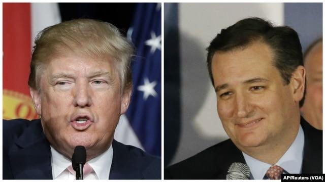 From left, Republican U.S. presidential candidates businessman Donald Trump and Texas Senator Ted Cruz.