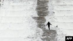 Người chủ dẫn chó ra ngoài công viên ở Bucharest, Rumani, 2/2/2012