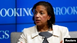 United States National Security Advisor Susan Rice answers questions at the Brookings Institution in Washington February 6, 2015.