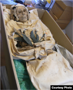 Mummified remains of Terézia Hausmann. (Gemma Kay)