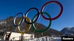 Sochi yaqiniga o'rnatilgan olimpiya o'yinlari ramzi, 4-yanvar, 2014-yil.