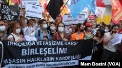 Li Stenbol meşa protesto kirina kuştina 7 endamên malbateke Kurd li bajarê Konya li Tirkiyê