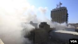 爆炸過後冒出濃煙