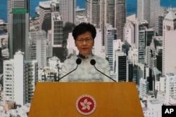 Predsednica Vlade Hong Konga Keri Lam na konferenciji za štampu u subotu, 15. juna 2019.