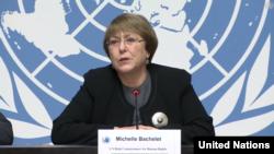 ဒီဇင္ဘာလ (၁၀)ရက္ေန႔မွာက်ေရာက္မယ့္ ႏိုင္ငံတကာ လူ႔အခြင့္အေရးပဋိဥာဥ္စာတမ္းႀကီး အတည္ျပဳတဲ့ ႏွစ္ (၇၀)ျပည့္ အထိမ္းအမွတ္ေန႔ ပတ္သက္ၿပီး သတင္းစာရွင္းလင္းပဲြ ျပဳလုပ္ေနတဲ့ ကုလသမဂၢလူ႕အခြင့္အေရးဆိုင္ရာ မဟာမင္းႀကီး Michelle Bachelet