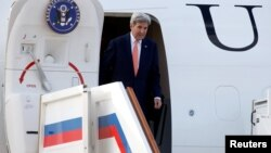 U.S. Secretary of State John Kerry disembarks from his plane upon his arrival at Vnukovo International Airport in Moscow, Russia, July 14, 2016.
