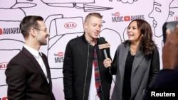 Rajan Luis (levo) i Meklimor tokom dodele muzičke nagrade sajta Jutjub, juče u Njujorku
