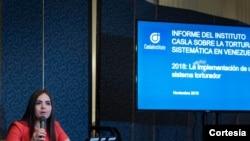 Tamara Suju, abogada y defensora de DD.HH., durante presentación de informe en la OEA. Foto de archivo - Cortesía