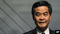 Hong Kong's Chief Executive Leung Chun-ying attends the opening ceremony of the Business of Design Week in Hong Kong , Dec. 6, 2012.
