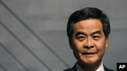 FILE - Hong Kong's Chief Executive Leung Chun-ying attends the opening ceremony of the Business of Design Week in Hong Kong, Dec. 6, 2012.