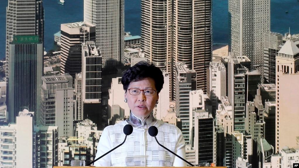 Trưởng quan hành chính Hong Kong Carrie Lam phát biểu trong cuộc họp báo ở Hong Kong, ngày 15 tháng 6, 2019.