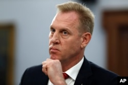 Acting Defense Secretary Patrick Shanahan listens,May 1, 2019, during a House Appropriations subcommittee on budget hearing on Capitol Hill in Washington.