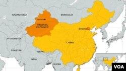 ແຜນທີ່ເຂດ Xinjiang ທາງພາກຕາເວັນຕົກ ຂອງຈີນ