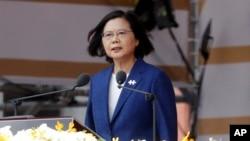 台湾总统蔡英文2021年10月10日在双十国庆上发表演讲。