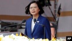 Predsjednica Tajvana govori tokom proslave Dana državnosti ispred Predsjedničke palate u Tajpeju, Tajvan, 10. oktobar 2021.