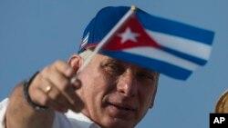 Le président cubain Miguel Diaz-Canel sur la Place de la Révolution, à La Havane, à Cuba, le 1er mai 2018.