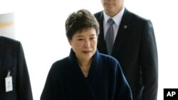 Park Geun-Hye arrivant au bureau d'un procureur, Seoul, Corée du sud, le 21 mars 2017.
