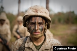FILE - Maria Daume trains at the Marine Corps Recruit Depot in Parris Island, S.C. (U.S. Marine Corps photo by Staff Sgt. Greg Thomas)