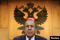 Russian Foreign Minister Sergei Lavrov during a news conference in Moscow, Russia, Jan. 26, 2016.