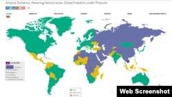 របាយការណ៍របស់ អង្គការ Freedom House មានចំណងជើងថា សេរីភាពលើប្រព័ន្ធអ៊ីនធឺណិតឆ្នាំ ២០១៦ (Freedom on Net 2016) សន្និដ្ឋានថា ប្រទេសកម្ពុជាពុំទាន់ជាប្រទេសដែលមានសិទ្ធិសេរីភាពពេញលេញទេ។