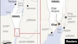 Peta wilayah kota resor Eilat di tepi Laut Merah. Israel menembak jatuh roket yang ditembakkan dari Mesir ke arah kota ini, Selasa (13/8).
