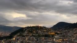 厄瓜多爾首都基多夜景。(美國之音記者蕭雨拍攝)