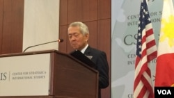 菲律賓外交部長佩費克托·雅賽星期四在華盛頓智庫戰略與國際研究中心就菲律賓新政府的外交政策和美菲關係發表演講。