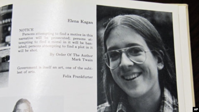 Supreme Court nominee Elena Kagan in the 1977 yearbook at Manhattan's Hunter College High School.