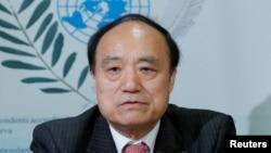 国际电联秘书长赵厚麟在日内瓦的一个记者会上(2018年5月28日)