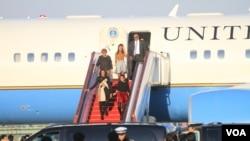 美国第一夫人米歇尔乘专机抵达北京,开始对中国进行为期一周的访问(美国之音东方拍摄)
