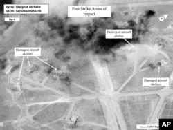 This satellite image released by the U.S. Department of Defense shows a damage assessment image of Shayrat air base in Syria, following U.S. Tomahawk missile strikes, April 7, 2017.