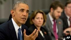 Shugaban Amurka Barck Obama yayinda yake bude taron kiyaye nukiliya jiya Alhamis a nan Washington DC