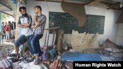 مدرسه پناهگاه آوارگان درغزه پس از حمله اسرائیل