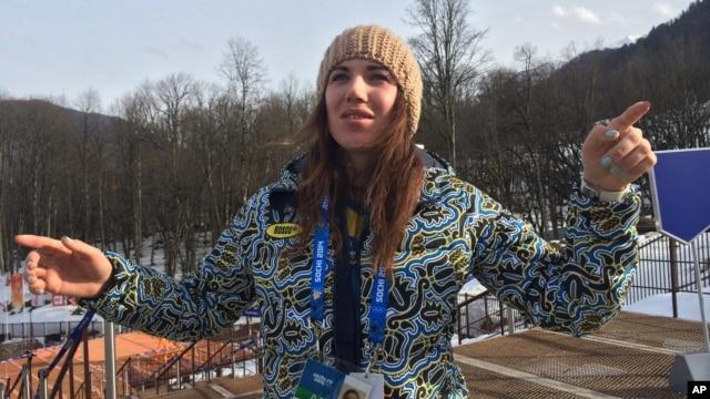 Ukrainian skier Bogdana Matsotska speaks during an interview with the Associated Press at the Sochi 2014 Winter Olympics, Feb. 20, 2014, in Krasnaya Polyana, Russia.