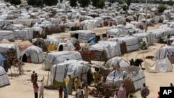 Le camp de personnes déplacées fuyant les attaques répétées du groupe islamiste Boko Haram à Maiduguri, Nigeria, 28 août 2016.