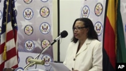 U.S. Deputy Assistant Secretary of State for African Affairs Susan Page addressing a news conference in Harare, Zimbabwe.
