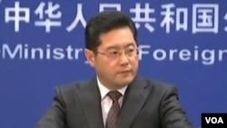 中国外交部发言人秦刚(视频截图)