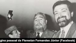 Florestan Fernandes Júnior, jornalista brasileiro, e Fidel Castro