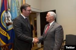 Майк Пенс и Александар Вучич в Белом доме. Вашингтон, 17 июля 2017 года.