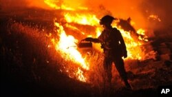 California firefighter Bo Santiago watches a backfire as the Rocky fire burns near Clearlake, California, Aug. 3, 2015.
