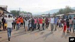 Des manifestants à Bujumbura, capitale du Burundi (AP Photo/Eloge Willy Kaneza)