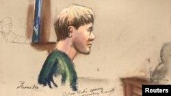 Dylann Roof, présumé auteur du meurtre de neuf Noirs en prière dans une église, est représenté dans un croquis lors d'une audience au tribunal en Charleston, en Caroline du Sud, 4 janvier 2017.